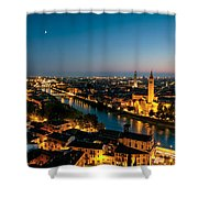 Panoramic Of Verona At Dusk Shower Curtain