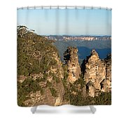 Panoramic Photo Of Blue Mountain And The Three Sisters Shower Curtain