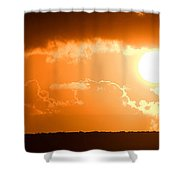 Panoramic Photo Of Sunset At Monkey Mia  Shower Curtain by Yew Kwang