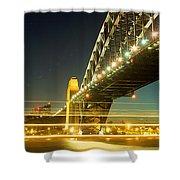 Panoramic Photo Of Sydney Harbour Bridge Night Scenery Shower Curtain