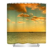 Panoramic Photo Sunrise At Monky Mia Shower Curtain by Yew Kwang