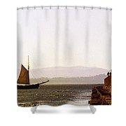 Panoramic Puget Sound Schooner 2 Washington Shower Curtain