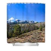 Panoramic Sawtooth Range And Little Redfish Lake Shower Curtain by Robert Bales