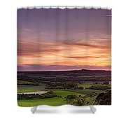Panoramic Sunset Over England Shower Curtain