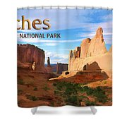 Panoramic View Of Arches National Park  Shower Curtain