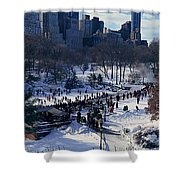 Panoramic View Of Ice Skating Wollman Shower Curtain