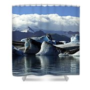 Panoramic View Of Icebergs And Glaciers Shower Curtain