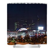 Panoramic View Of Kiev Railroad Station And Europe Square At Night Shower Curtain