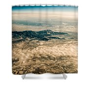 Panoramic View Of Landscape Of Mountain Range Shower Curtain