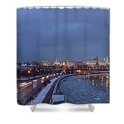 Panoramic View Of Moscow River And Kremlin - Featured 2 Shower Curtain