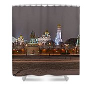 Panoramic View Of Moscow River And Moscow Kremlin In Wintertime Shower Curtain