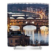 Panoramic View Of Ponte Vecchio - Florence - Tuscany Shower Curtain