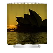 Panoramic View Of Sunrise At Sydney Opera House Shower Curtain
