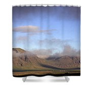 Panoramic View Of The Mountains Lit By The Sun Shower Curtain