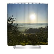 Panoramic View Over The Foggy Field Shower Curtain