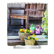 Pansies And Watering Cans On Steps Shower Curtain
