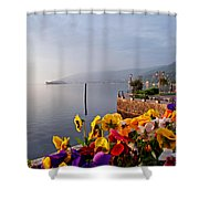 Pansies On Lake Maggiore Shower Curtain