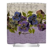 Pansy Border Shower Curtain