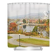 Paper Mill And Fall Colors In Rumford Maine Shower Curtain