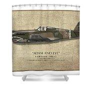 Pappy Boyington P-40 Warhawk - Map Background Shower Curtain