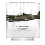 Pappy Boyington P-40 Warhawk - White Background Shower Curtain