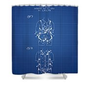Parachute Harness Patent From 1922 - Blueprint Shower Curtain