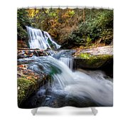 Parachuting Shower Curtain by Debra and Dave Vanderlaan