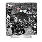 Parade Bisbee Arizona July 4th 1909 Color Added 2013 Shower Curtain