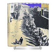 Parade Honoring General Nelson A. Miles  11-08-1887 Geronimo's Capture Tucson Color Added 2008 Shower Curtain