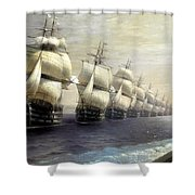 Parade Of The Black Sea Fleet In 1849 Shower Curtain