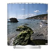 Binigaus Beach In South Coast Of Minorca Island Europe - Paradise Is Not Far Away Shower Curtain