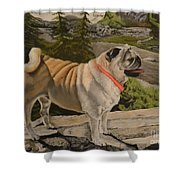Paradise Pug Shower Curtain
