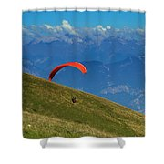 Paragliding In The Mountains Shower Curtain