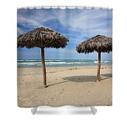 Parasols On Varadero Beach Shower Curtain