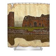 Parchment Texture Kirby Muxloe Castle Shower Curtain