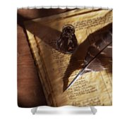 Parchment With Ink And Quill Pen Shower Curtain