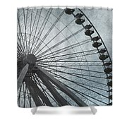 Paris Blue Ferris Wheel Shower Curtain