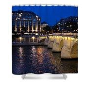 Paris Blue Hour - Pont Neuf Bridge And La Samaritaine Shower Curtain