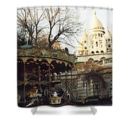 Paris Carousel Merry Go Round Montmartre - Carousel At Sacre Coeur Cathedral  Shower Curtain