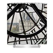 Paris Clock Shower Curtain