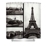 Paris Collage - Black And White Shower Curtain