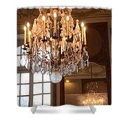 Paris Crystal Chandelier - Paris Rodin Museum Chandelier - Sparkling Crystal Chandelier Reflection Shower Curtain