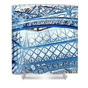 Paris Design In Blue Shower Curtain