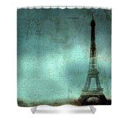 Paris Dreamy Eiffel Tower Teal Aqua Abstract Art Photo - Paris Eiffel Tower Painted Photograph Shower Curtain by Kathy Fornal