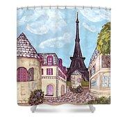 Paris Eiffel Tower Inspired Impressionist Landscape Shower Curtain
