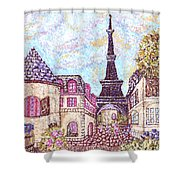Paris Eiffel Tower Skyline Inspired Pointillist Landscape Shower Curtain