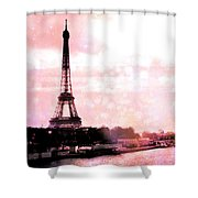 Paris Eiffel Tower Pink - Dreamy Pink Eiffel Tower With Hot Air Balloon Shower Curtain
