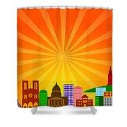 Paris France City Skyline Panorama Shower Curtain