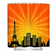 Paris France Downtown City Skyline Shower Curtain