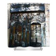 Paris Guerlain Storefront Boutique - Paris Guerlain Blue Door Art Nouveau Art Deco Door Shower Curtain